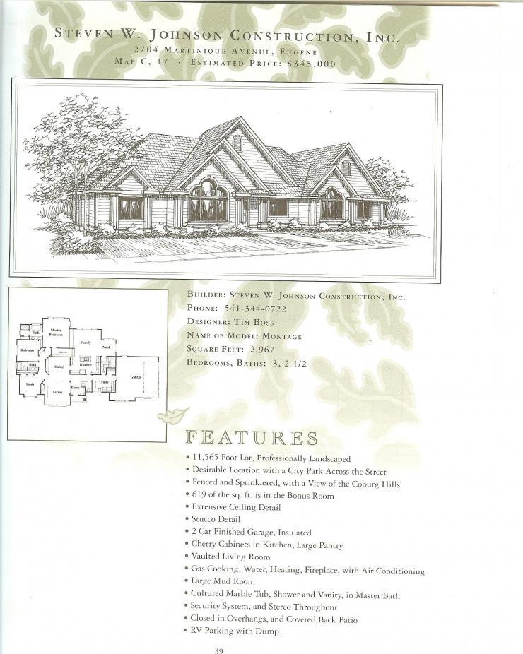 Eugene Oregon Tour of Homes Floor Plan