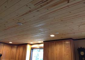 1400 sq. ft. of T&G pine with satin lacquer finish. Future work: Beams and light fixtures